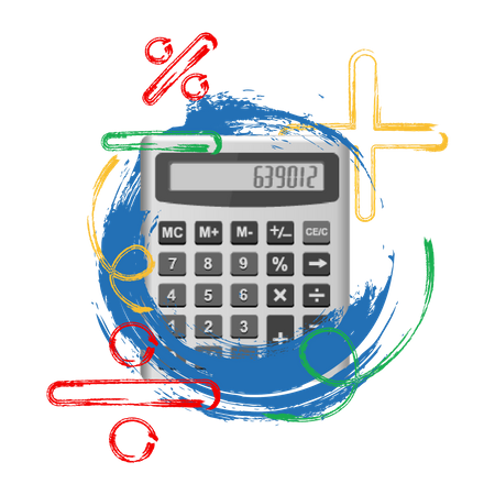 Photo illustration concept of calculation with calculator image Illustration