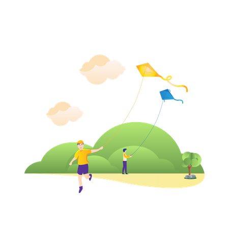 Playing kites in the park Illustration