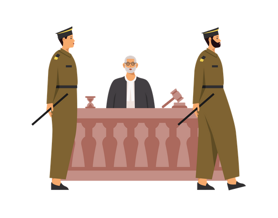 Police and judge in courtroom Illustration