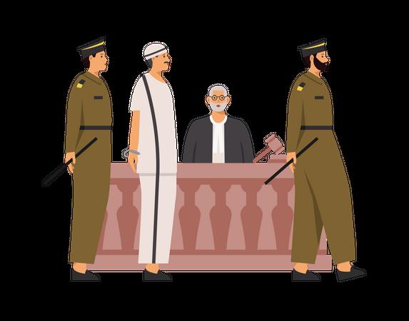 Police bringing criminal in court Illustration