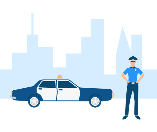Police officer with police car in town Illustration