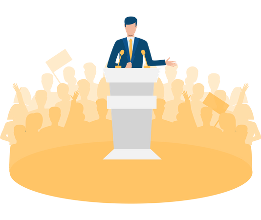 Best Free Politician giving his speech to public Illustration download in  PNG & Vector format