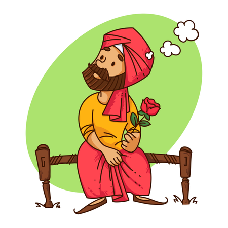 Punjabi man thinking of how to propose his girlfriend with rose in his hand Illustration