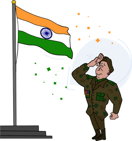 Retired army officer salute to Indian national flag Illustration
