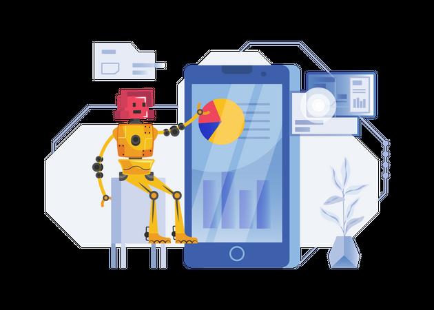 Robot doing data analysis Illustration