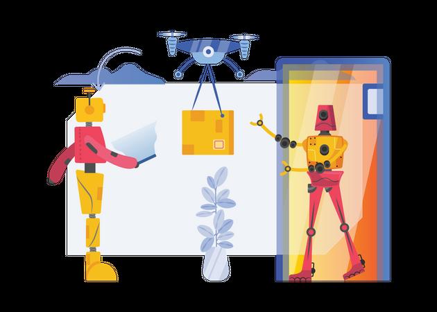 Robot doing parcel delivery Illustration