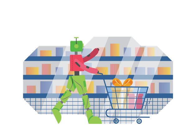 Robot doing Shopping Illustration