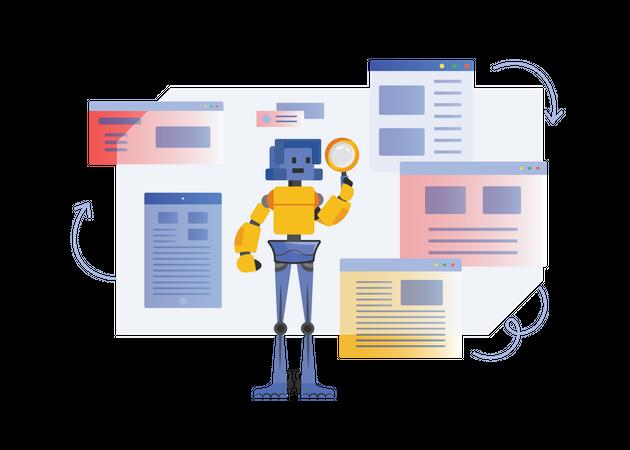 Robot finding data Illustration