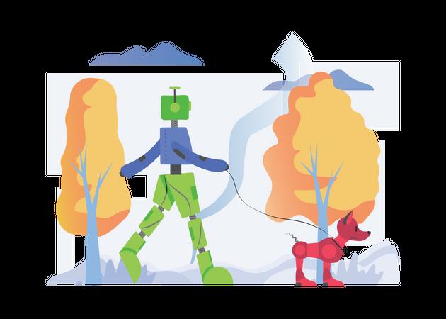 Robot walking with dog Illustration