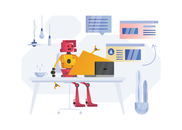 Robot working in office Illustration