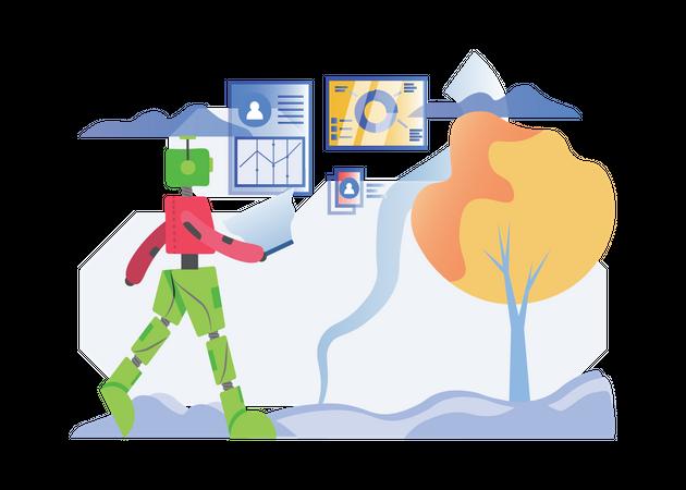 Robot working while walking Illustration
