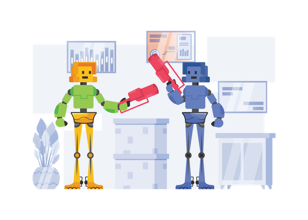 Robots doing business discussion Illustration