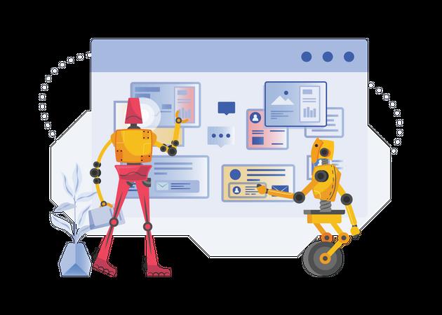 Robots doing data research Illustration