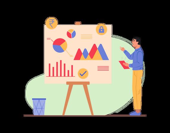 Sales executive doing sales analysis Illustration