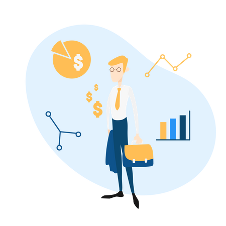 Salesperson analysis of sales overview Illustration
