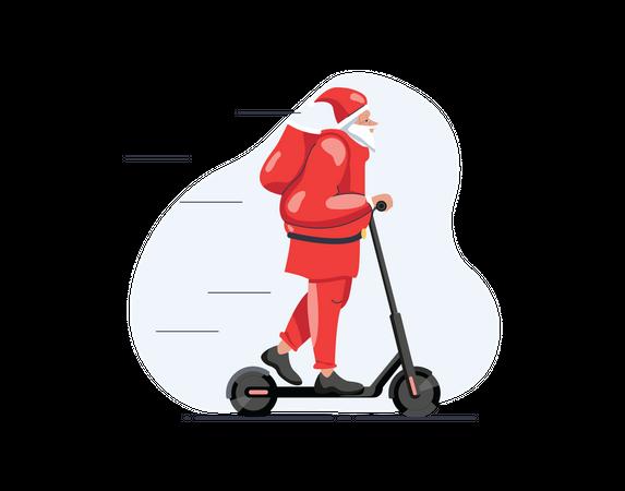 Santa riding scooter Illustration