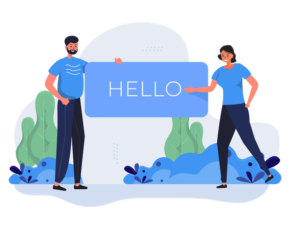 Say hello to new people Illustration