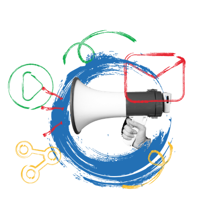 Sharing and video marketing concept with loud speaker image Illustration