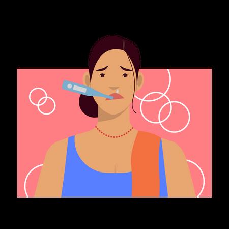 Sick female Illustration