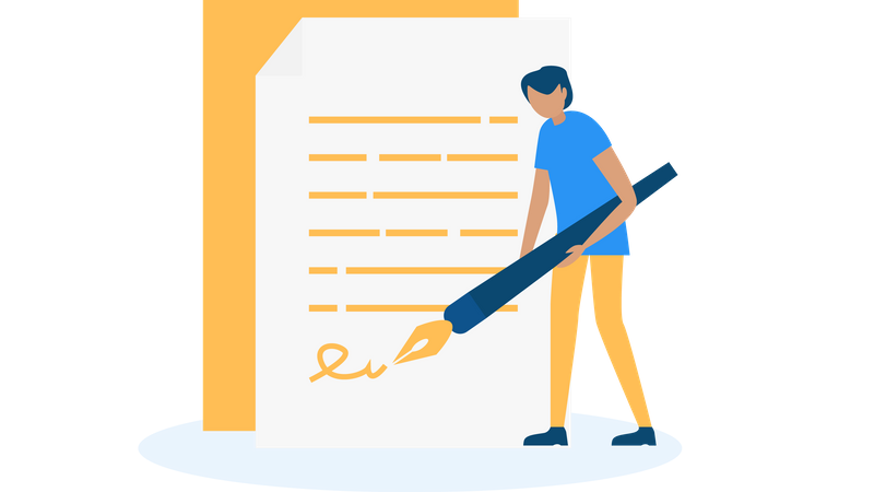 Signing terms of services Illustration