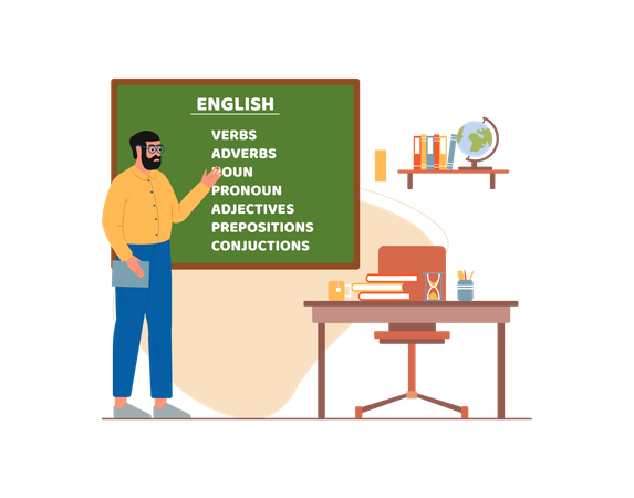 Sir teaching english in school Illustration