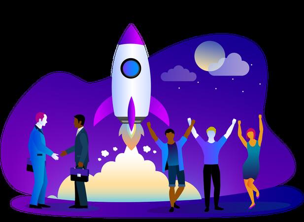 Startup launch Illustration