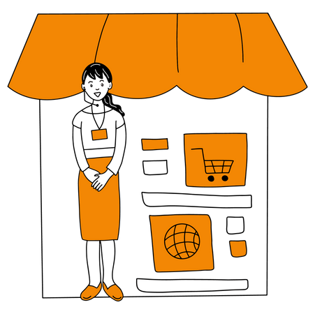 Startup of Online Shopping business with customer support Illustration