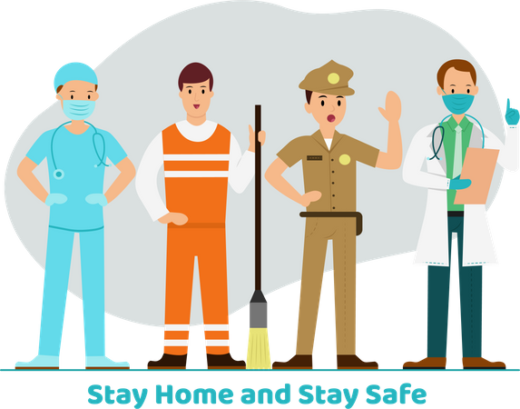 Stay Home and Stay safe Illustration