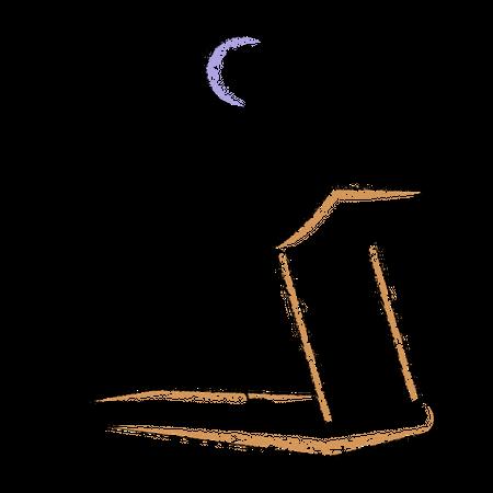 Stickman running on treadmill Illustration