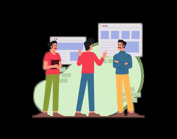 Team discussing on website development Illustration