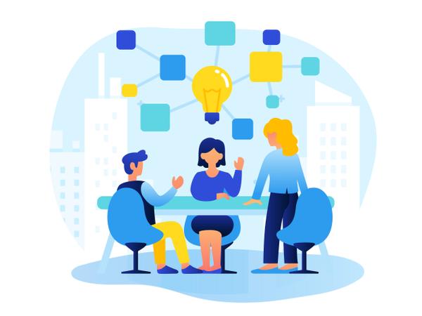 Teamwork and Brainstorming Illustration