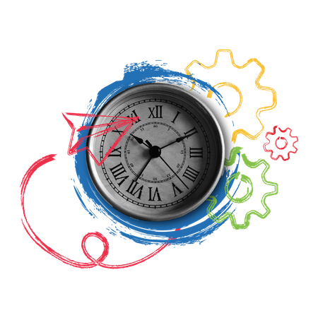 Time management concept with old clock image Illustration