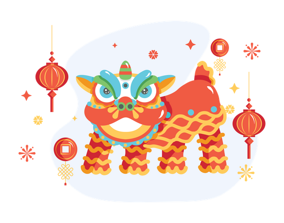 Traditional Chinese lion in dance festival Illustration