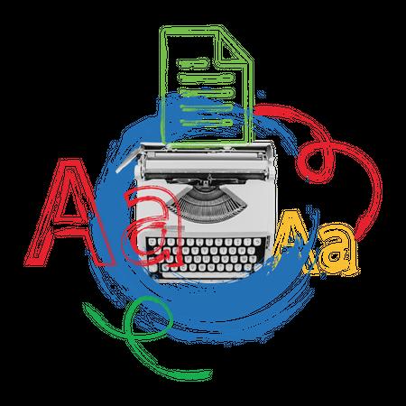 Typewriter with white paper Illustration