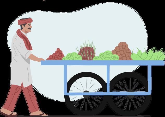 Vegetable Vendor Illustration