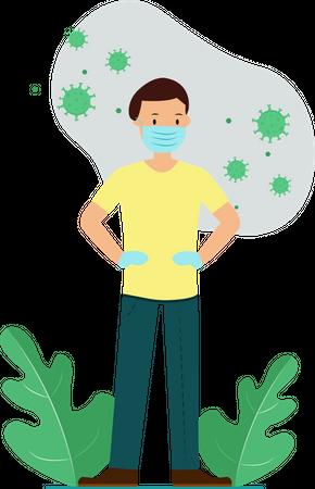 Wear Mask And Gloves always for stop corona virus transmission Illustration