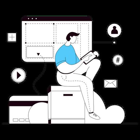 Web Designer Building Website Illustration