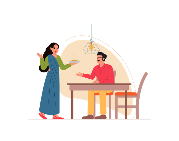 Wife serving food to husband Illustration