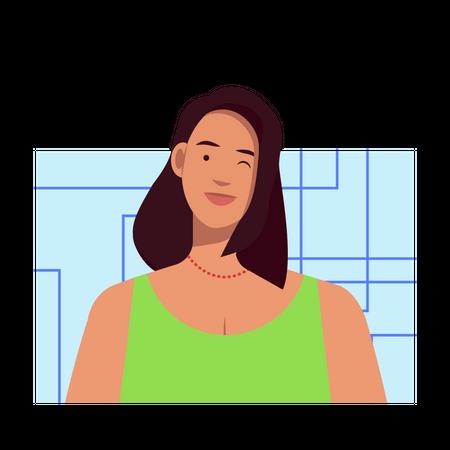 Winking female Illustration