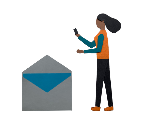 Woman checking received email on phone Illustration