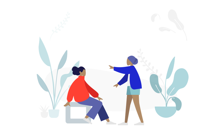 Woman discussing in park Illustration
