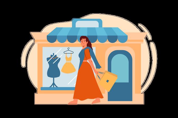 Woman doing diwali shopping Illustration
