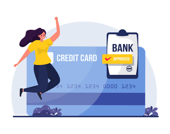 Woman got approval for Credit card application Illustration