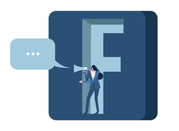 Woman Holding Megaphone On Facebook Application Icon Illustration