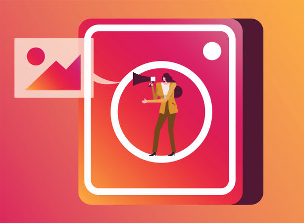 Woman Holding Megaphone On Photo Application Icon Illustration