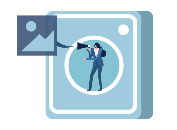 Woman Holding Megaphone On Photo Application Icon. Illustration