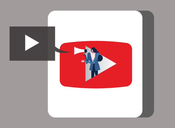 Woman Holding Megaphone On Video Application Icon Illustration