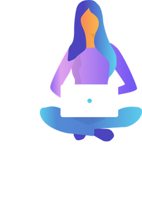 Woman sitting and working on laptop Illustration