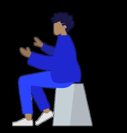 Woman sitting on stool Illustration