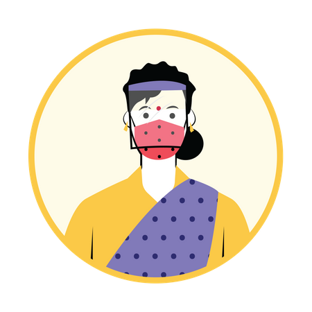 Woman with head shield Illustration